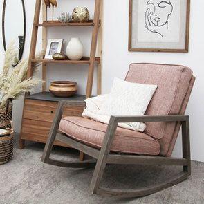 Rocking chair en tissu orange briqué - Harold