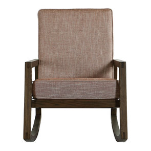 Rocking chair en tissu orange briqué - Harold