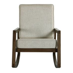 Rocking chair en tissu mastic grisé - Harold - Visuel n°1