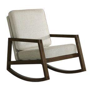 Rocking chair en tissu mastic grisé - Harold - Visuel n°2