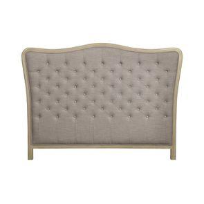 Tête de lit capitonnée 140/160 cm en hévéa et tissu beige - Joséphine