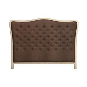Tête de lit capitonnée 160 en hévéa et tissu marron - Joséphine
