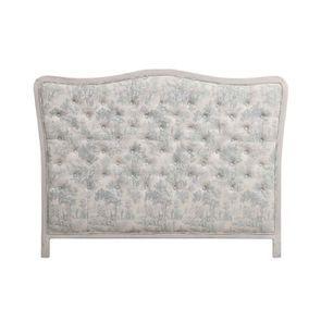 Tête de lit capitonnée 140/160 cm en hévéa et tissu toile de Jouy - Joséphine
