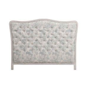 Tête de lit capitonnée 160 en hévéa et tissu toile de Jouy - Joséphine
