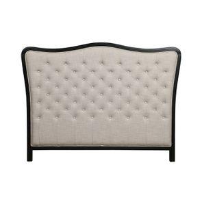 Tête de lit capitonnée 160 en hévéa noir et tissu lin beige - Joséphine