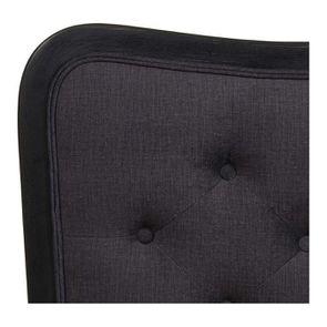 Tête de lit capitonnée 160 en hévéa et tissu anthracite - Joséphine