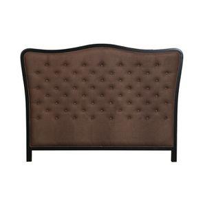 Tête de lit capitonnée 140/160 cm en hévéa et tissu marron glacé - Joséphine