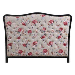 Tête de lit capitonnée 160 en hévéa et tissu Jardin Anglais - Joséphine
