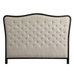 Tête de lit 160 cm en hévéa noir et tissu mastic grisé capitonné - Joséphine