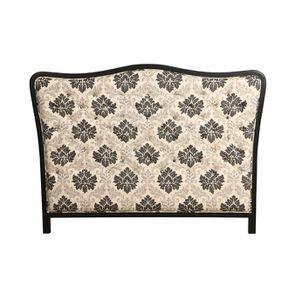 Tête de lit capitonnée 140/160 cm en hévéa et tissu arabesque - Joséphine