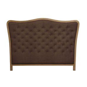 Tête de lit capitonnée 160 en frêne et tissu marron - Joséphine