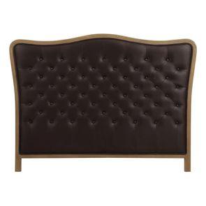 Tête de lit capitonnée 140/160 cm en éco-cuir chocolat - Joséphine