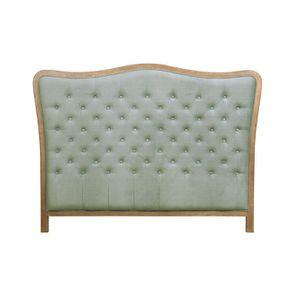 Tête de lit capitonnée 160 en frêne et tissu vert sauge - Joséphine
