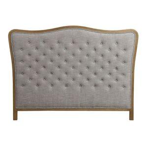 Tête de lit capitonnée 160 en frêne et tissu gris chambray - Joséphine