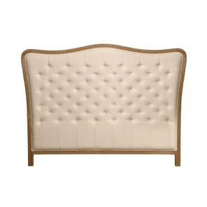 Tête de lit capitonnée 140/160 cm en frêne et tissu ficelle - Joséphine