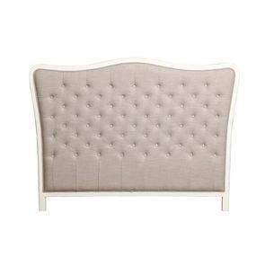 Tête de lit capitonnée 140/160 cm en hévéa et tissu lin beige - Joséphine
