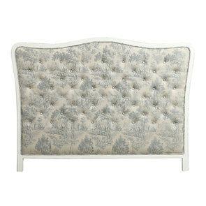 Tête de lit 160 cm en hévéa blanc et tissu toile de Jouy capitonné - Joséphine