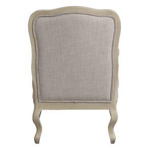 Fauteuil en tissu lin beige et finition château - Auguste - Visuel n°4