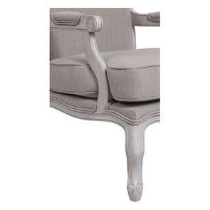 Fauteuil en tissu lin beige et finition gris argenté - Auguste - Visuel n°7