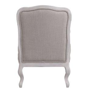 Fauteuil en tissu lin beige et finition gris argenté - Auguste - Visuel n°4