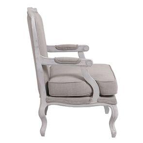 Fauteuil en tissu lin beige et finition gris argenté - Auguste - Visuel n°5