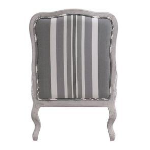 Fauteuil en tissu Bayadère gris et finition Château gris argenté - Auguste - Visuel n°4