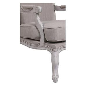 Fauteuil en tissu lin beige et finition gris argenté - Auguste - Visuel n°3