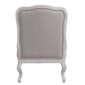 Fauteuil en tissu lin beige et finition gris argenté - Auguste - Visuel n°8