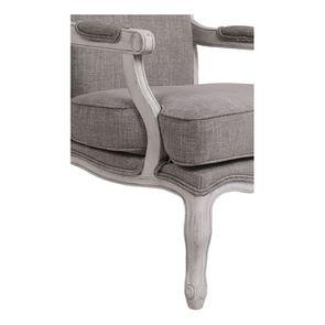 Fauteuil en tissu Gris chambray et finition Château gris argenté - Auguste - Visuel n°8
