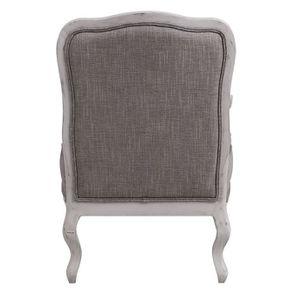 Fauteuil en tissu Gris chambray et finition Château gris argenté - Auguste - Visuel n°4