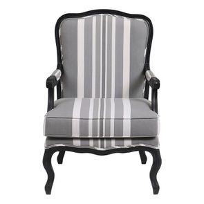 Fauteuil en tissu Bayadère gris et finition Noir - Auguste