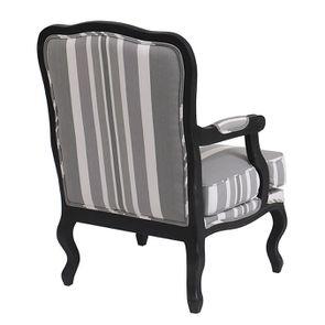 Fauteuil en tissu Bayadère gris et finition Noir - Auguste - Visuel n°3