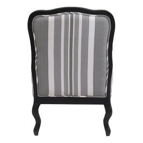 Fauteuil en tissu Bayadère gris et finition Noir - Auguste - Visuel n°4