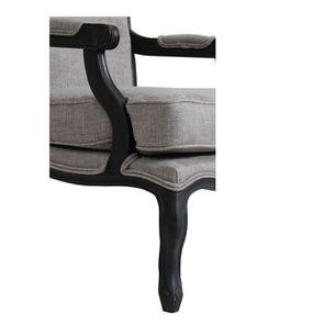 Fauteuil en tissu gris Chambray et finition noir - Auguste - Visuel n°7