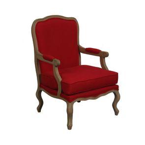 Fauteuil en tissu rouge cerise - Auguste - Visuel n°1