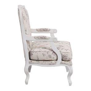 Fauteuil en tissu Fleurs Opaline et finition Romance blanc - Auguste - Visuel n°5