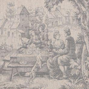 Fauteuil en tissu toile de Jouy et finition gris argenté - Raphaël - Visuel n°7