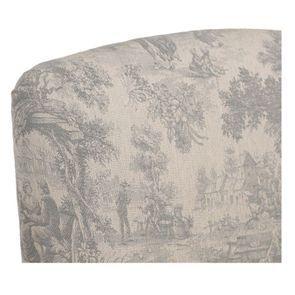 Fauteuil en tissu toile de Jouy et finition gris argenté - Raphaël - Visuel n°8