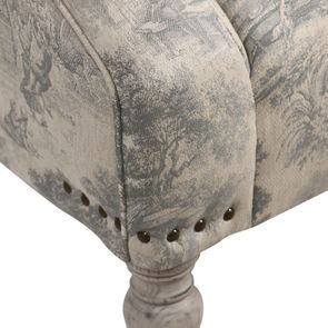 Fauteuil en tissu toile de Jouy et finition gris argenté - Raphaël - Visuel n°9