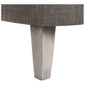 Fauteuil crapaud en hévéa gris argenté et tissu gris chambray - Victor