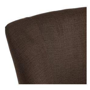 Fauteuil crapaud en hévéa noir et tissu marron glacé - Victor - Visuel n°8