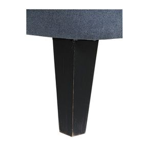 Fauteuil en hévéa noir et tissu effet velours gris bleu - Victor
