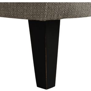 Fauteuil crapaud en hévéa noir et tissu losange gris - Victor