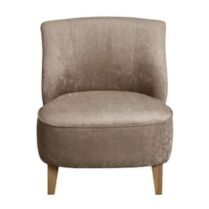 Fauteuil crapaud en velours taupe - Victor