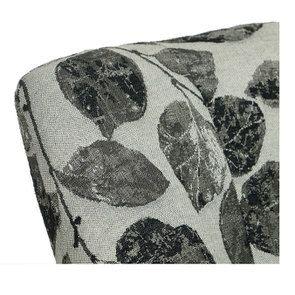 Fauteuil crapaud en hévéa blanc et tissu feuilles noires - Victor - Visuel n°8