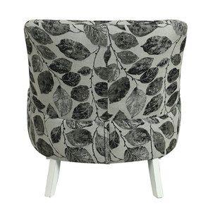 Fauteuil crapaud en hévéa blanc et tissu feuilles noires - Victor - Visuel n°5