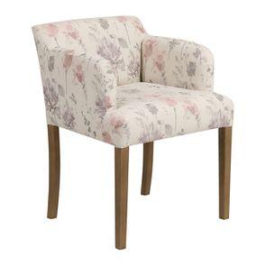Fauteuil de table en tissu fleurs opaline - Marceau - Visuel n°2