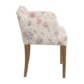Fauteuil de table en tissu fleurs opaline - Marceau - Visuel n°5