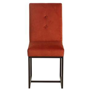 Chaise en métal et velours rouille - Grace