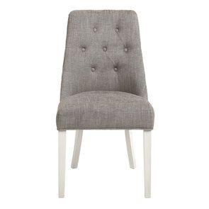 Chaise capitonnée en tissu gris chambray et hévéa blanc - Judith